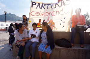 Midwives celebrating the Day of the Midwife on San Cristóbal's main plaza. May 2015.